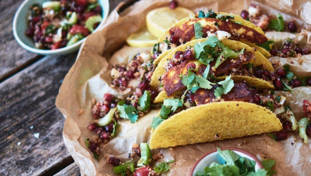Tacos with haloumi & quinoa-pomegranate