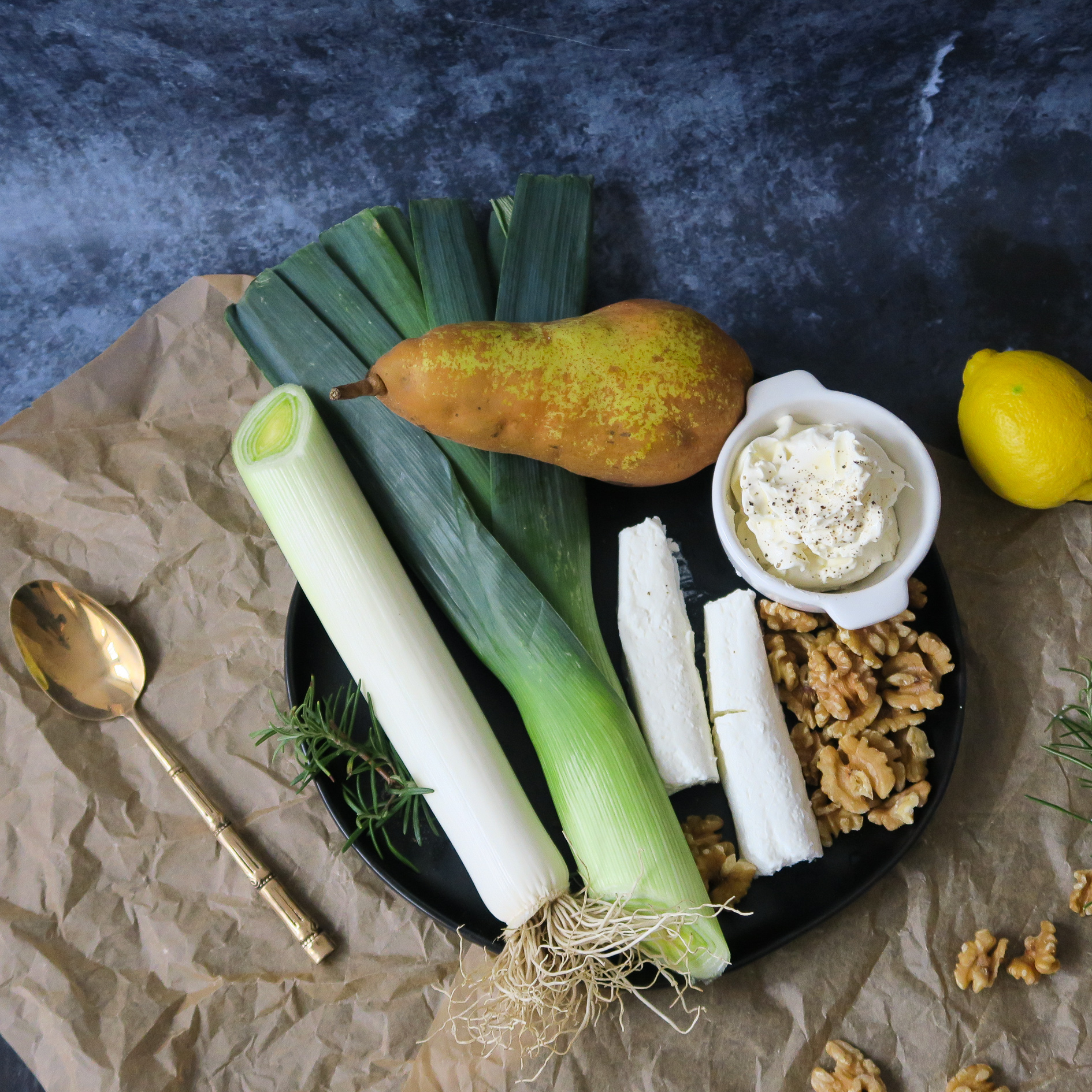 Healthy ingredients for a savory galette