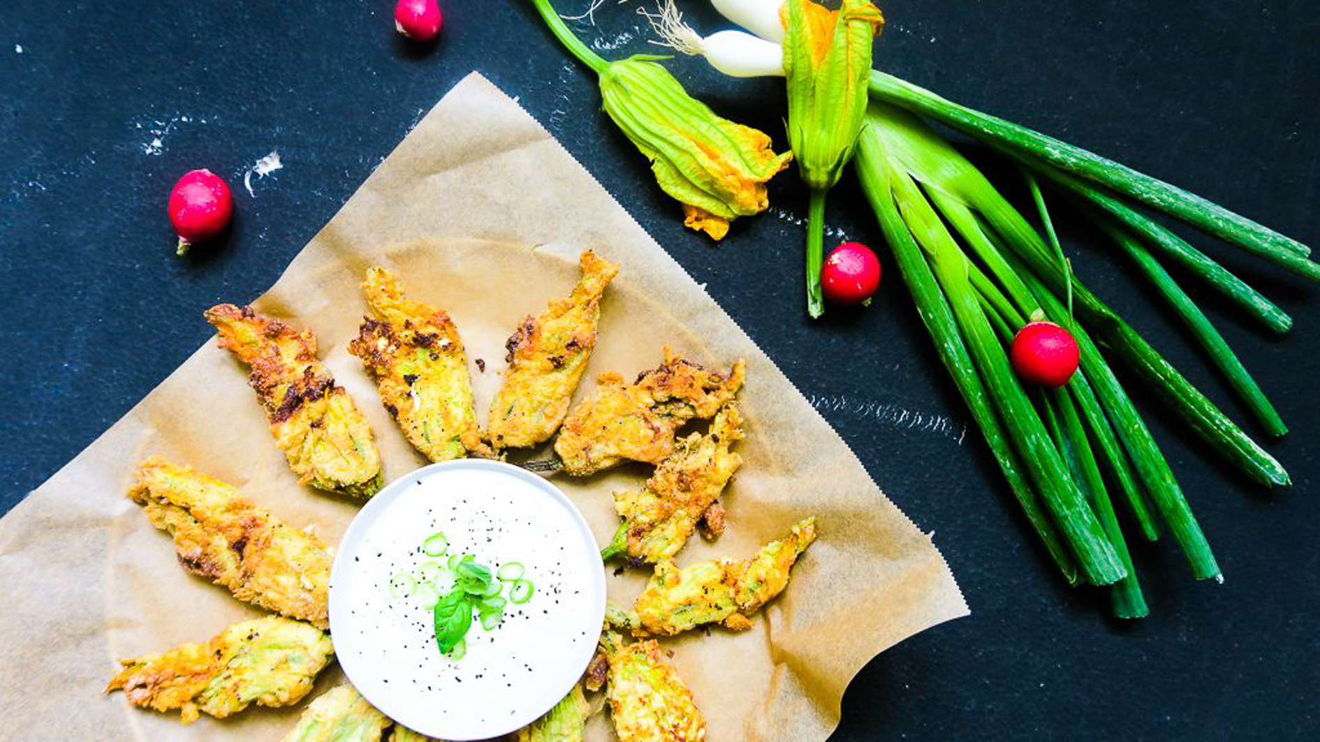 Ricotta Stuffed Zucchini Flowers with a dip