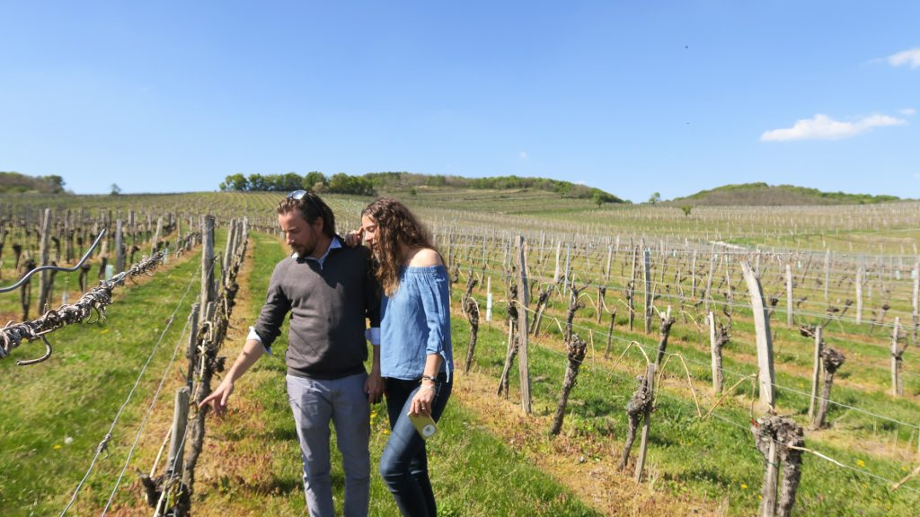 Patrick Bayer and Katja Bernegger showing us where their grapes are from